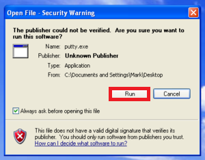 how to open a file in linux using putty